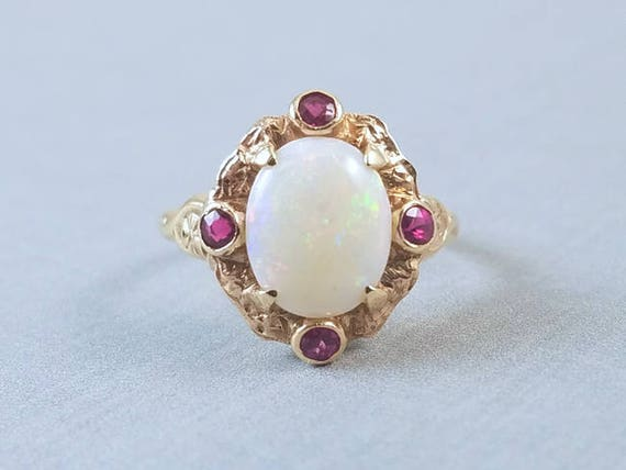 Antique Edwardian 10k opal and ruby ring, signed Untermeyer Robbins size 5-3/4