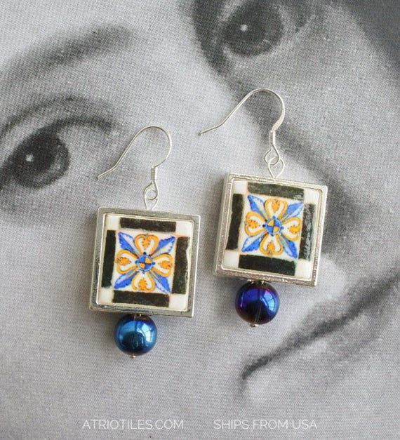 Earrings Portugal Antique Checkered - SILVER - National Palace of Sintra Galleon Room 17th Century - -Ships from USA 1720