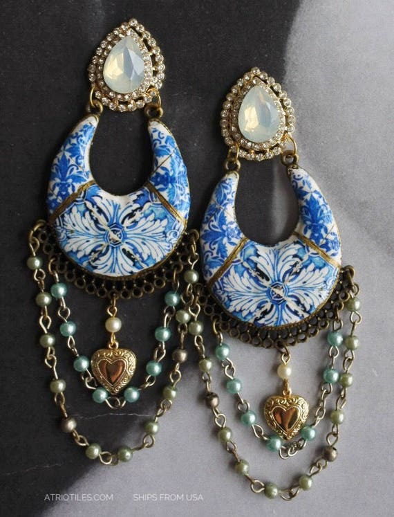 Earrings Portugal Tile Chandelier Stud Post Antique beads 16th Century Azulejo BLUE Tomar  Convent of Christ  Bohemian, Boho, Persian Indian