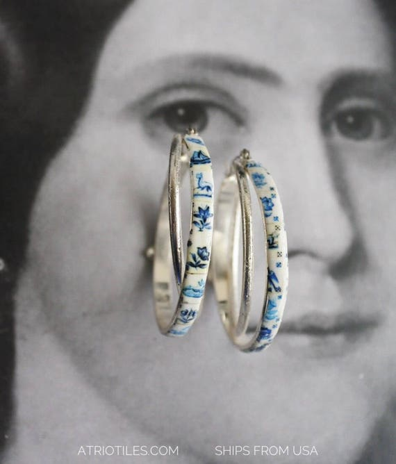 Hoop Earrings  Double Portugal Tile Azulejo Delft 1837  Pasteis de Belem Delft Style - Hypo Allergenic - Ships from USA