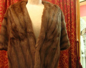 "1940's, 38"" bust, medium brown stripped, dyed squirrel jacket."