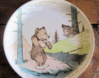 Antique Plate French Sarreguemines Bears 3 of 3