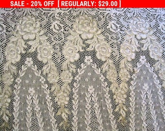 Antique Metallic Lace Roses Embroidery Wide Bridal