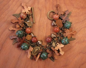 Fall Jewelry - Rustic Bracelet - Olive Wood Cross, Turquoise, Religious Charms, Terra Cotta and Antique Brass Charm Bracelet