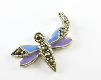 Sterling Silver Enamel Dragonfly Charm with Marcasite Stones