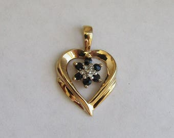 Sweet solid 10K Gold Sapphire Heart Pendant (no chain), 6 sapphires inside a golden heart shape, free US first class shipping on vintage