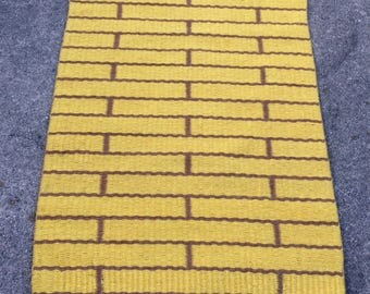 The Yellow Brick Road Handwoven Wool Rug. Two Rugs in One