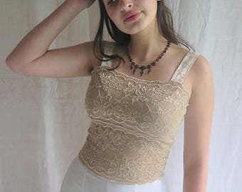 Stretch Lace Tank Camisole with Stretchy Panne Velvet Straps Size Medium