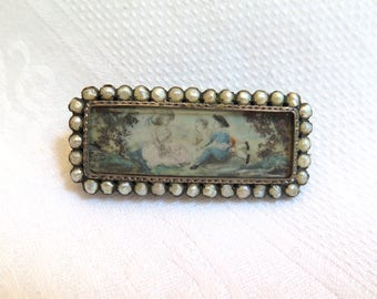 Antique Hand Painted Brooch Miniature Painting in Silver and Seed Pearls Georgian Era Early 1800''s