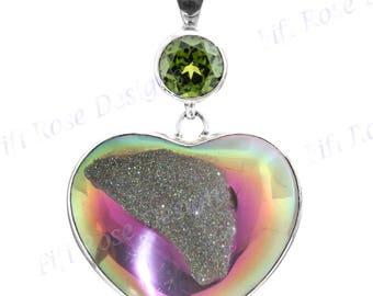 "Sale! 2 1/2"" Heart Taupe Pink Titanium Druzy Peridot 925 Sterling Silver Pendant"