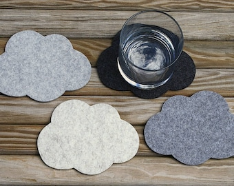 Cloud Wool Felt Drink Coasters Unique Coaster Set, Cute, Fun and Absorbent Coasters for Drinks