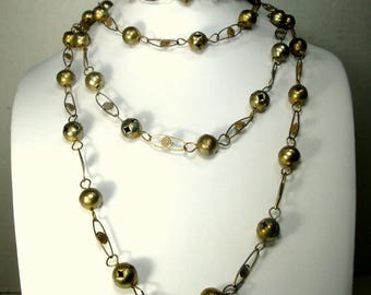 1960s Mexican Silver Wash Metal Bead Necklace, 6 Feet, Wedding Necklace, Pawn Shop Cowgirl Southwest, 182.94cm
