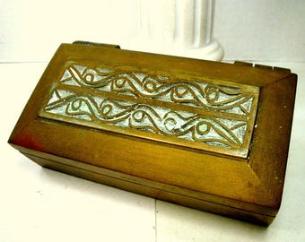 Heavy Brass Hinged Box, Funky but Handsome Vintage 1970s Stash or Jewelry Box, It Had a Life, But Ready for Another One