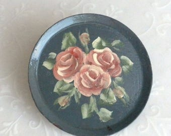 SUMMER SALE Vintage Tole Enamel Hand Painted Victorian Roses on Tin Brooch