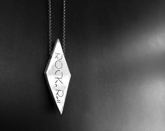 Diamond Shape Modern Geometric Necklace in Sterling Silver- Customized with words