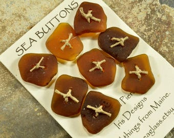 Set of eight molasses brown square naturally ocean tumbled Maine sea/ beach  glass buttons ecochic  embellishment for knitters