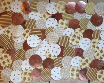 """100 Large 2"""" Die Cut Circles from Vintage Gold Gift Wrap for Paper Crafting"""