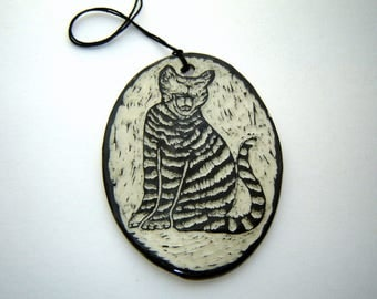 Tabby Cat Ornament – Animal art – Laughing Kitten – Yawning Cat - Black and White – Gift for Pet Lover – Sgraffito Pottery