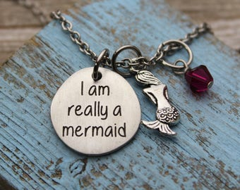 I am really a mermaid Name Charm Necklace, Fine Pewter
