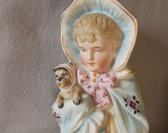 Antique c1880s Victorian Bisque Figurine of a Little Girl with Pug Dog
