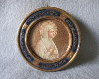 Vintage Miniature Italian Florentine, Tole Picture Frame with Madonna Print