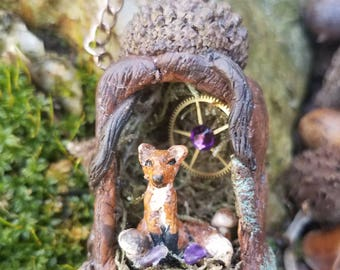 Fox Necklace, Fantasy Necklace, Fox Jewelry, Miniature Fox, OOAK, Gift for Her