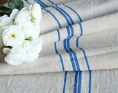 RP 690:antique SWEDISH BLUE 2.95 yards french lin, vintage, tablerunner curtains cushions ;wedding,spring, 18.50 inches home decoration