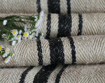 R 757:  antique hemp linen rarest BLACK, upholstery,  tablerunner, 6.01 yards, french lin, benchcushion, Beachhouse look, do it yourself