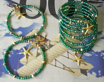 Set - Wrap Bracelet and Hoop Earrings - Iridescent Seed Bead - Dark green - Gold metal bead - Starfish charms - Boho chic - Bohemian - bycat