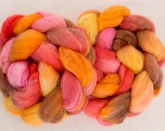 Hand dyed roving, BFL, Kid mohair, combed top, spindling, Hand dyed spinning wool, felting materials, Handspinning, spinning fibre, Nuno