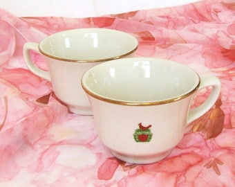 Vintage Pair Restaurant Ware Coffee Cups Logo Name The Carolina Chapel Hill Red Bird Cardinal Named Gold Edge Homer Laughlin Best China