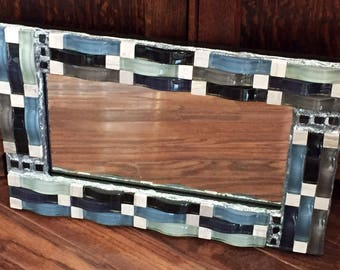Silver Waves Mosaic Mirror