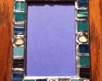 Silver Blue Gem Picture Frame (holds a 4 x 6 photograph)