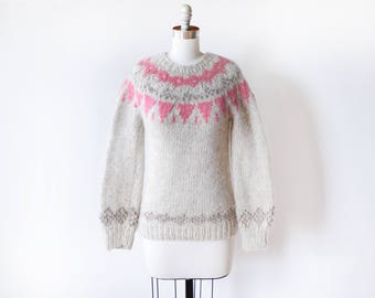 vintage fair isle sweater, Nordic wool pink + gray Scandinavian pullover knit, extra small xs