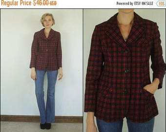 SUMMER SALE Vintage 70's Pendleton Wool Preppy Plaid Tartan Red Boho Fitted Blazer jacket XS S