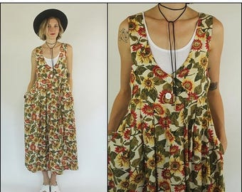 SUMMER SALE Vintage 90s Floral Sunflowers Grunge Preppy Slouchy Oversize Midi dress XS S