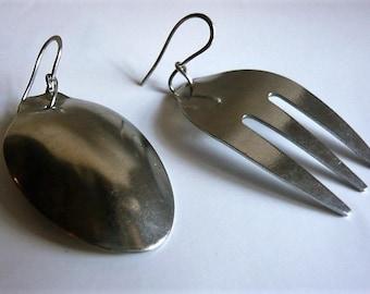 Fork and spoon Sissi strand steel earrings