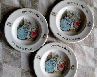 SALE Peter Rabbit Beatrix Potter Plates Wedgwood small Plates Etruria Barlaston bunny rabbits babyshower gift collectable bunny plates