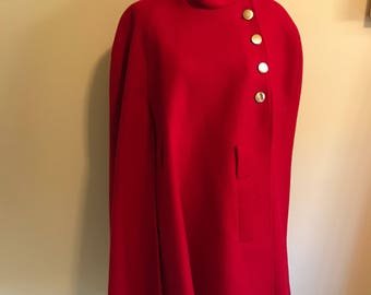 Red wool cape, vintage red cape with asymmetrical closure, gorgeous vintage outerwear, stunning red cape