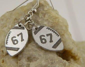 Football Custom Jersey Number Earrings