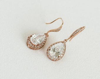 Rose Gold Bridal Earrings, CZ Wedding Earrings, Gold Bridal Earrings, Silver Wedding Earrings, Wedding Jewelry