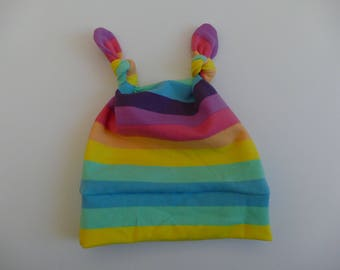 new born baby knot hat designer rainbow fabric