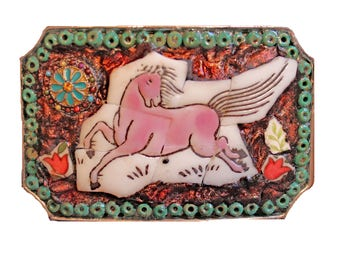 Frolicking Horse Mosaic Belt Buckle Made from China Tiles--One of a Kind
