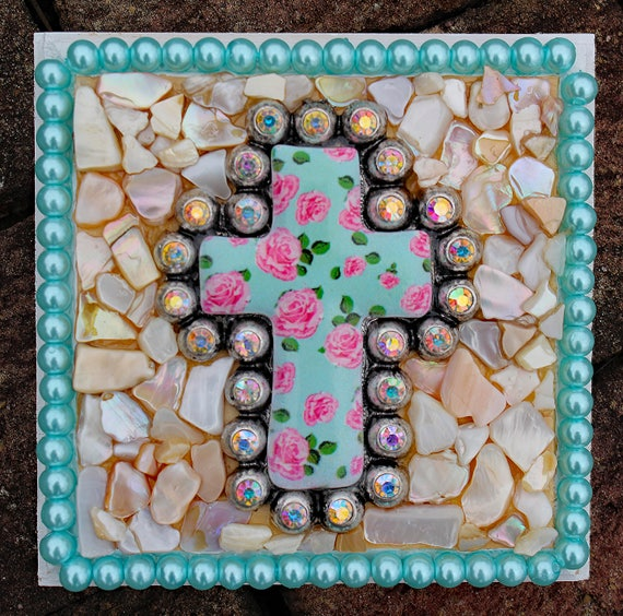 Small Cross Plaque with Roses and Rhinestone Cross, Mother of Pearl and Glass Pearls