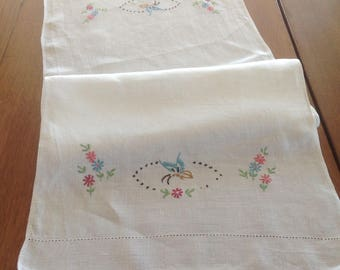 Vintage Linen Runner, Butterflies and Floral Embroidery, Table Topper, Dresser Scarf, Cutwork Edge