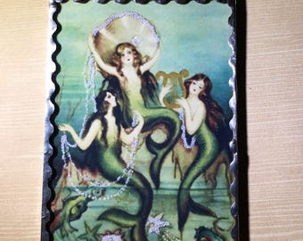 Mermaid Plaque Soldered Flat Glass Wall Ornament With Beaded Hanger