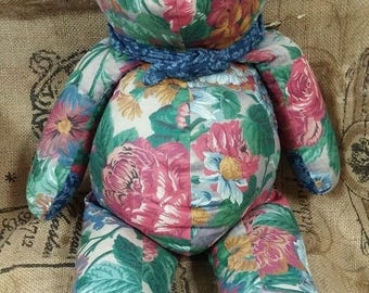 super sale floral fabric teddy bear