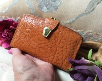 Vintage British tan textured leather wallet clutch, made England small wallet clutch coin purse, multi pocket gussetted coin purse wallet