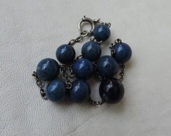 chain bracelet lapis lazuli antique stone bracelet