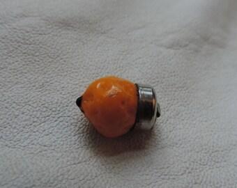 glass charm orange glass fruit czech glass